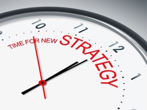 An illustration of a clock with the words time for new strategy